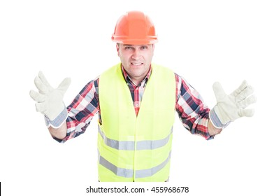 Male builder with bad attitude looking furious and pissed isolated on white background
