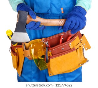Male builder in blue overalls with hatchet isolated on white
