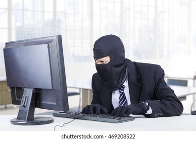 Male burglar wearing mask and steal information on the computer in the office