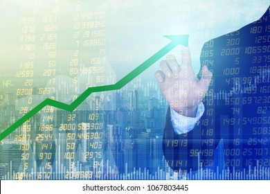 Male business man hitting the arrow. Stock statistics, stock market exchange analysis for investment