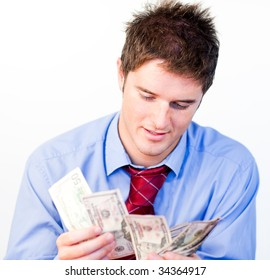 Male businessperson counting money