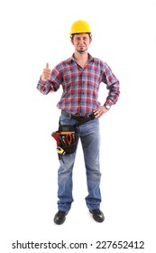 Male Carpenter Gesturing Thumbs Up on the white background. Isolated on white