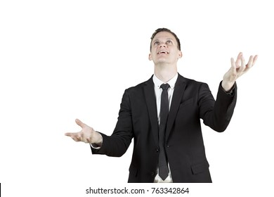 Male Caucasian entrepreneur wearing formal suit with juggling pose, isolated on white background