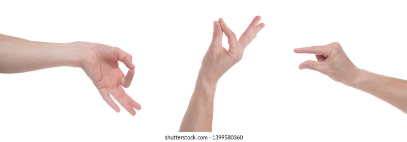 Male caucasian hand gesturing a small amount, or smal size, isolated on white background. Multiple images. Collage