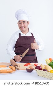 Male chef cooking concept - on white background