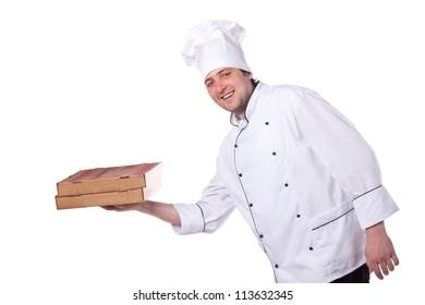 male chef holding a pizza box