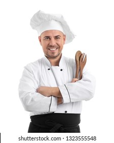 Male chef with kitchen utensils on white background