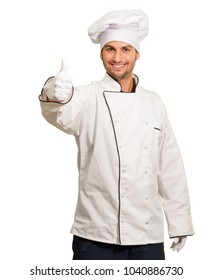 Male Chef Showing Thumbs Up Sign On White Background