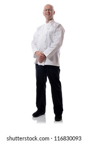 Male chef smiling isolated on white