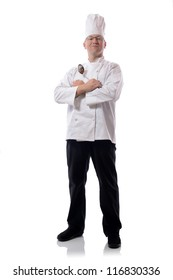 Male chef smiling with ladle sign isolated on white