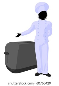Male chef with a toaster silhouette on a white background