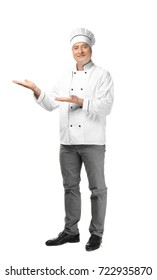 Male chef in uniform on white background