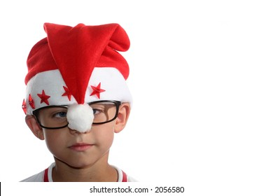 Male child with santa hat and glasses