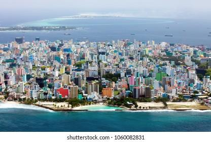 Male City / Maldives. Maldivian capital from above / close up.