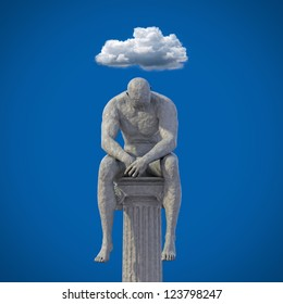 Male clay statue sitting on pillar 3D / cloud over head