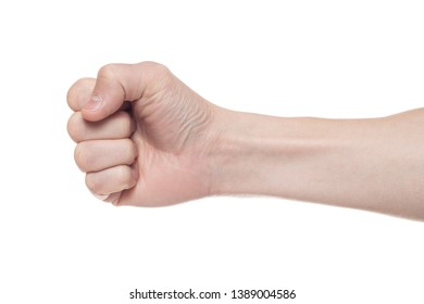 Male clenched fist, isolated on a white background. Win