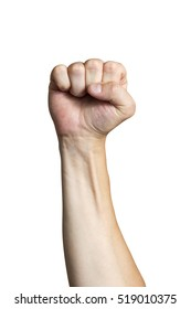 Male clenched fist, isolated on a white background Man hand with a fist