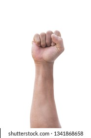 Male clenched fist of man's hand isolated on a white background with clipping path