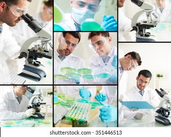 Male clinicians studying new virus or chemical elements in laboratory