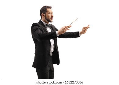 Male conductor in a suit conducting with a baton and gesturing with hand isolated on white background