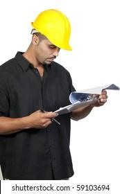 A male construction worker a job site.