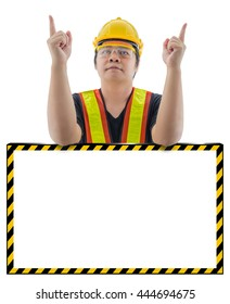 male construction worker with Standard construction safety equipment is presenting empty banner isolated on white background