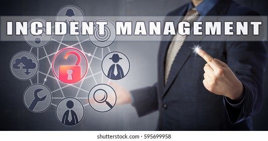Male IT consultant in blue business suit tracking INCIDENT MANAGEMENT. Information technology metaphor and business process concept for ensuring quality and maintaining availability upon an incident.