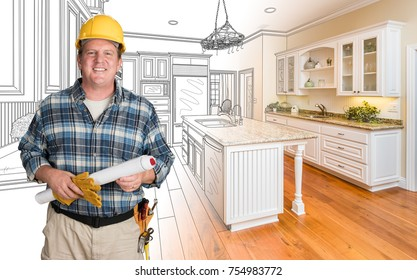 Male Contractor With House Plans Wearing Hard Hat In Front of Custom Kitchen Drawing Photo Combination
