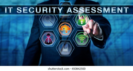 Male corporate auditor pushing IT Security Assessment on a virtual control screen. Information technology concept for computer security auditing process and security management. Close up torso shot.