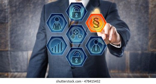 Male corporate governance officer is activating a legal section sign on a virtual control screen. Business concept for Governance, Risk Management, and Compliance, short GRC, and enterprise modeling.