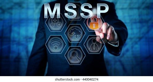 Male corporate network administrator is touching MSSP on an interactive virtual control screen. Business model metaphor and information technology concept for managed security service provider.