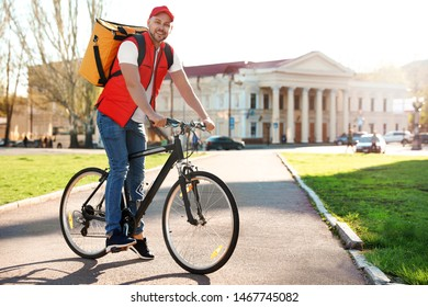 Male courier on bicycle delivering food in city