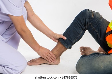 The male creator kneels and suffers from leg pain as a concept as medical problem concept isolated on white background