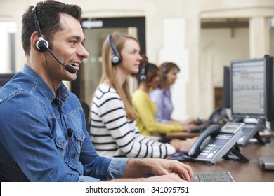 Male Customer Services Agent In Call Centre