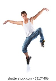 Male dancer. Isolated on white.