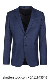 Male dark blue blazer on isolated background, men jacket