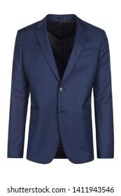 Male dark blue blazer on isolated background, men jacket