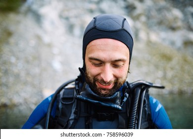 Male diver portrait after immerse