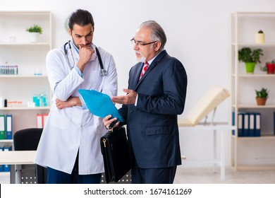 Male doctor and businessman discussing medical project