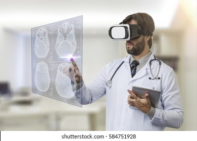 Male doctor in his office, using a Virtual Reality Glasses, looking at a virtual screen.