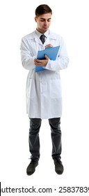 Male Doctor holding clipboard isolated on white
