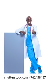 Male doctor holding empty placard. Doctor. Billboard