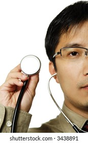 A male doctor holding a stethoscope, can be used as healthcare concept