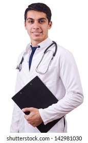 Male doctor isolated on the white