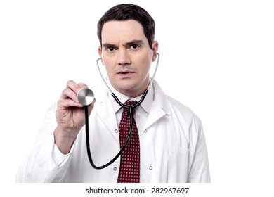 Male doctor ready to check with stethoscope