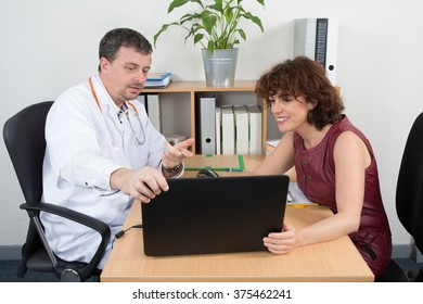 Male doctor receiving  woman from medical representative