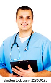 Male Doctor standing with folder on white background