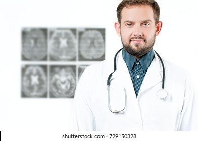 Male Doctor with stethoscope. Healthcare, Medical Concept