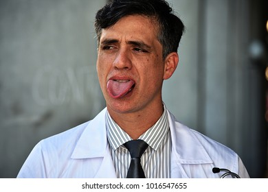 Male Doctor Sticking Out Tongue