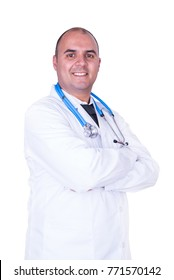 Male doctor with white coat and blue stethoscope on white background